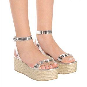 Prada Embellished Espadrille Sandals Silver Sz 5